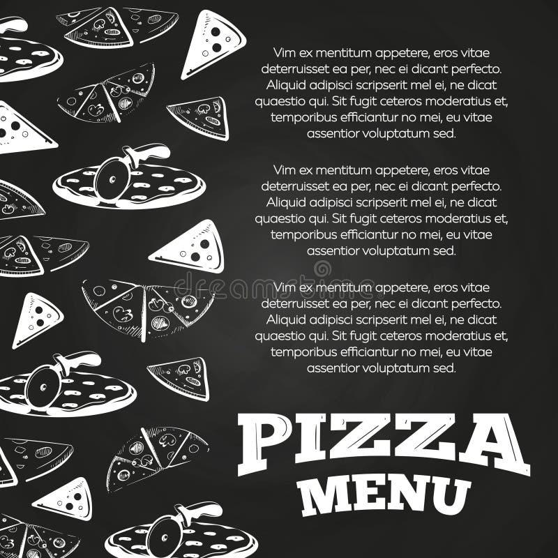 Manifesto del menu della pizza della lavagna - progettazione dell'insegna degli alimenti a rapida preparazione illustrazione vettoriale