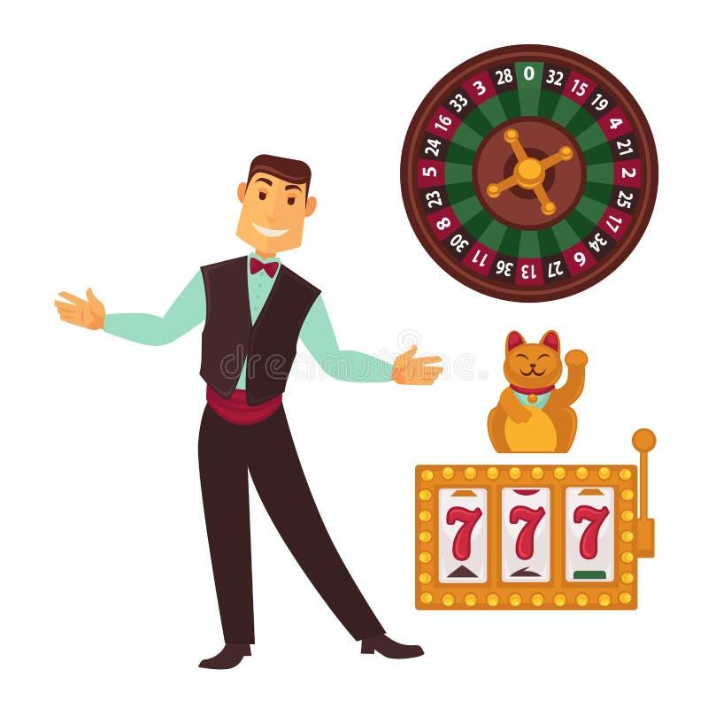 Manifesto del modello di gioco del casinò con i simboli e l'uomo illustrazione vettoriale