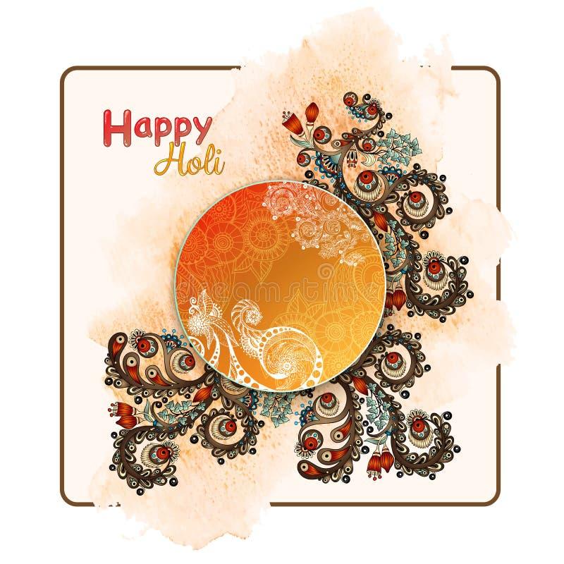 Manifesto del modello di vettore Celebrazioni felici di Holi di festival indiano con il fondo disegnato a mano delle mandale illustrazione vettoriale