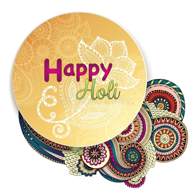 Manifesto del modello di vettore Celebrazioni felici di Holi di festival indiano con il fondo disegnato a mano delle mandale royalty illustrazione gratis