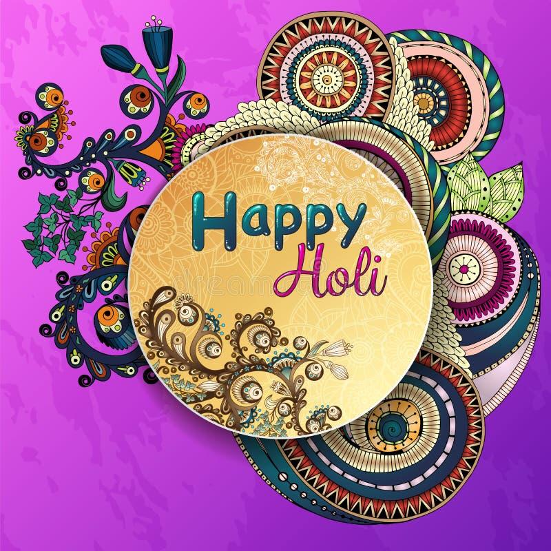Manifesto del modello di vettore Celebrazioni felici di Holi di festival indiano con il fondo disegnato a mano delle mandale illustrazione di stock