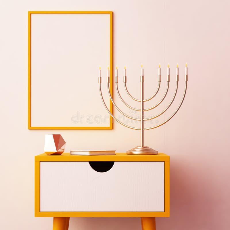 Manifesto del modello sul tema della hanukkah illustrazione vettoriale