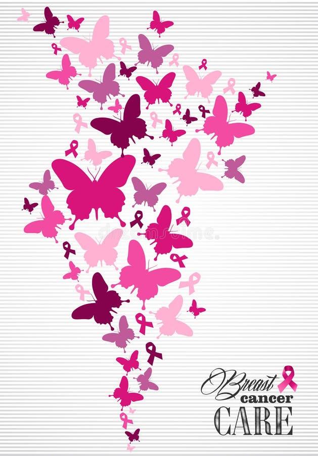 Manifesto del nastro della farfalla di consapevolezza del cancro al seno royalty illustrazione gratis