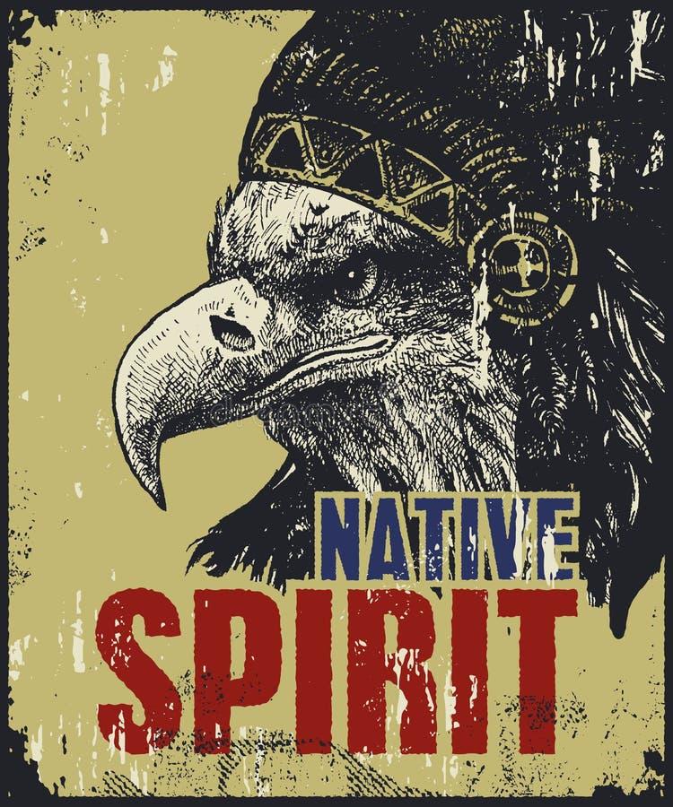 Manifesto del nativo americano illustrazione vettoriale