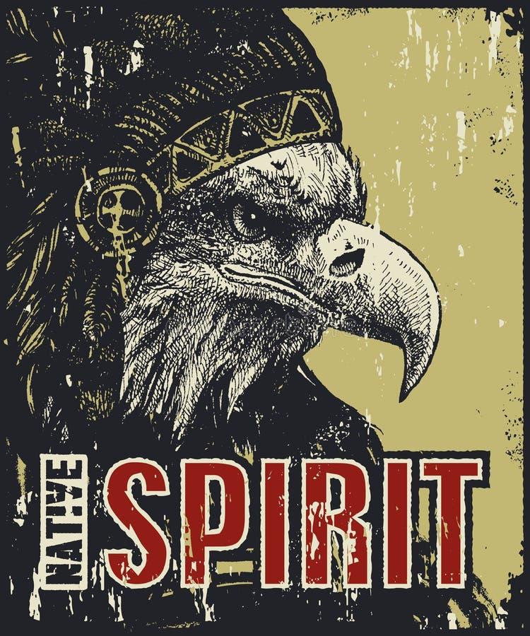 Manifesto del nativo americano illustrazione di stock
