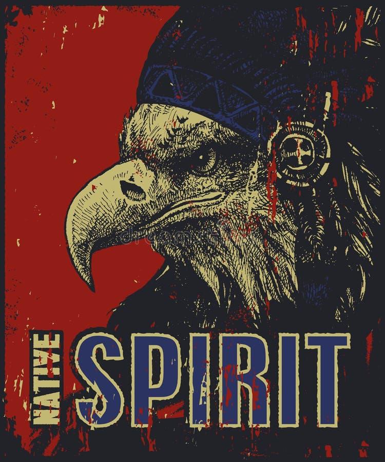 Manifesto del nativo americano, aquila nel cofano di guerra illustrazione vettoriale