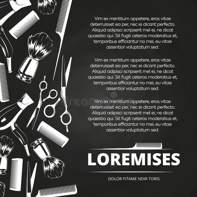 Manifesto del negozio di barbiere della lavagna illustrazione di stock