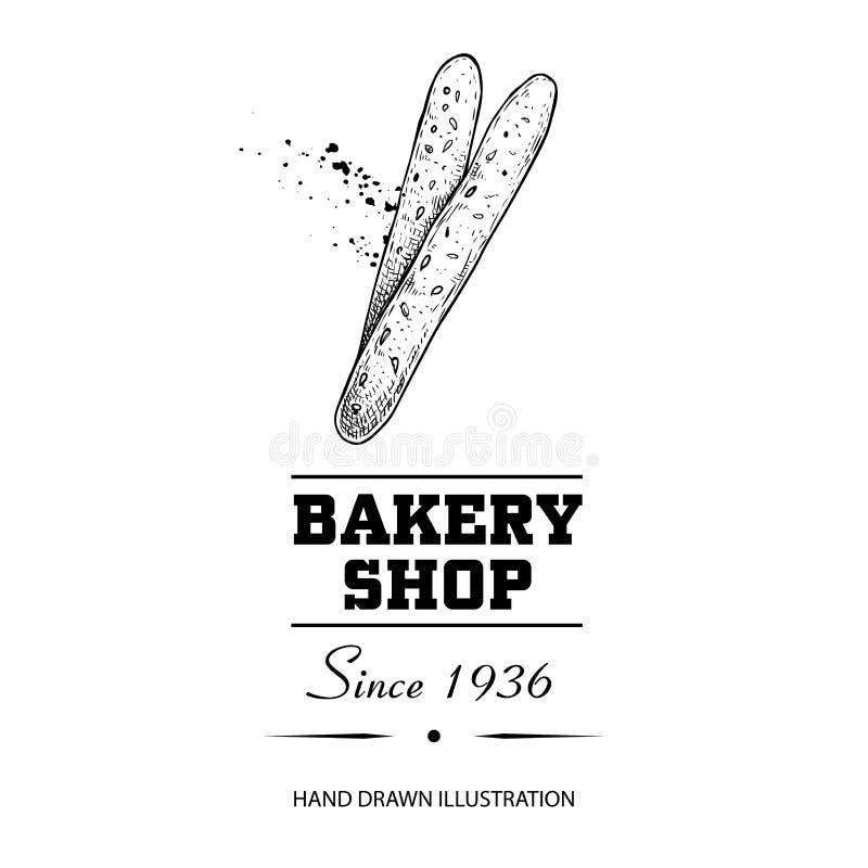 Manifesto del negozio del forno E Illustrazione disegnata a mano di vettore di stile di schizzo isolata su fondo bianco Idea illustrazione vettoriale