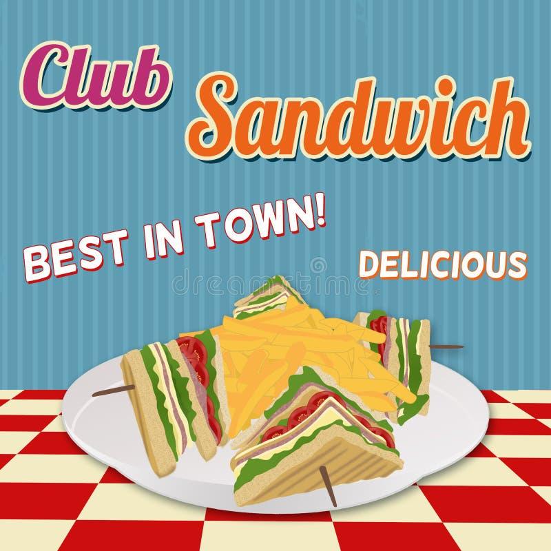 Manifesto del panino di club retro illustrazione di stock