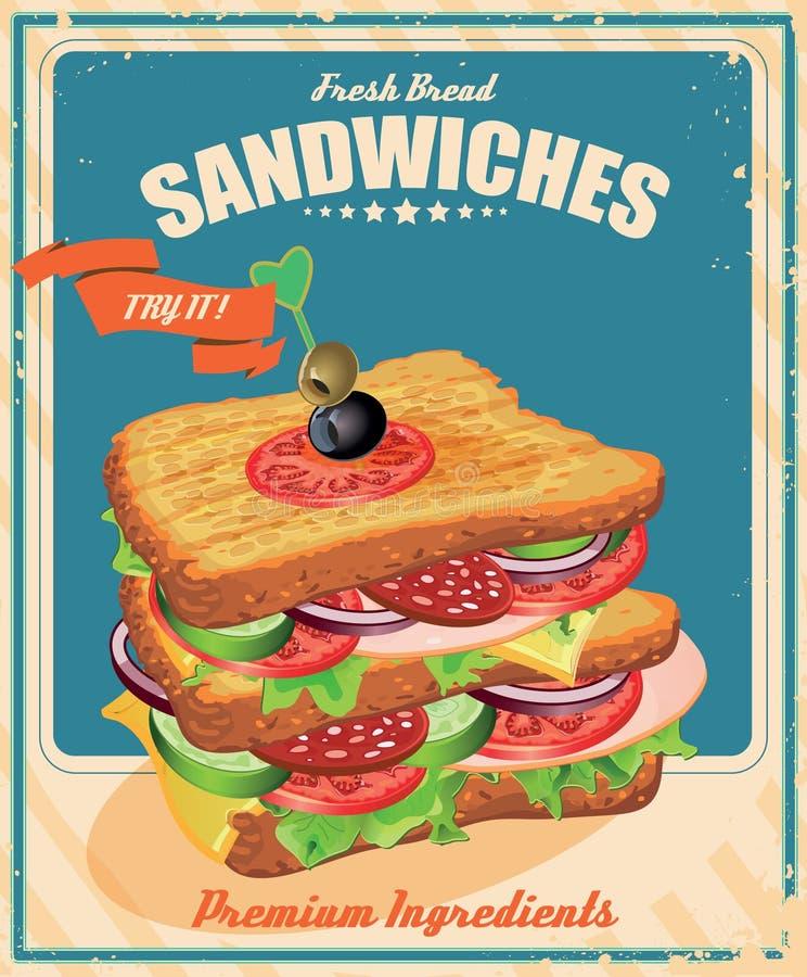 Manifesto del panino nello stile d'annata illustrazione di stock