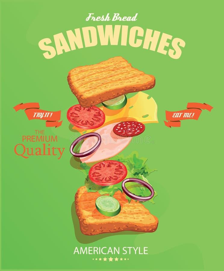 Manifesto del panino nello stile d'annata illustrazione vettoriale