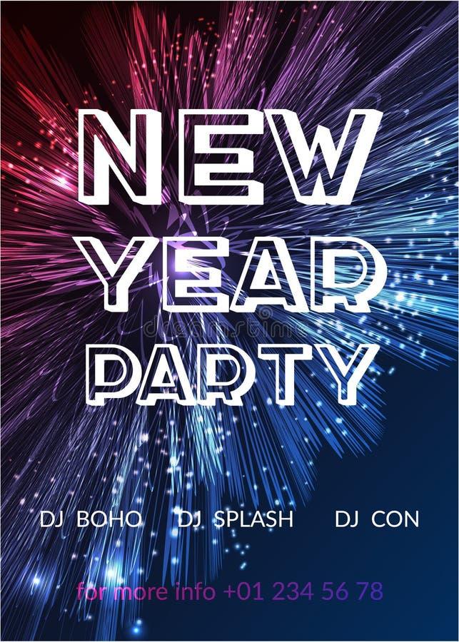 Manifesto del partito del buon anno Fondo luminoso dei fuochi d'artificio progettazione del fondo da 2017 feste royalty illustrazione gratis