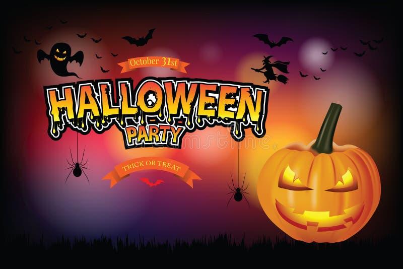 Manifesto del partito di Halloween con il fantasma della zucca illustrazione vettoriale
