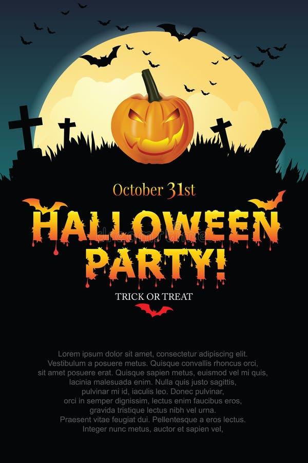 Manifesto del partito di Halloween con il fantasma della zucca illustrazione di stock