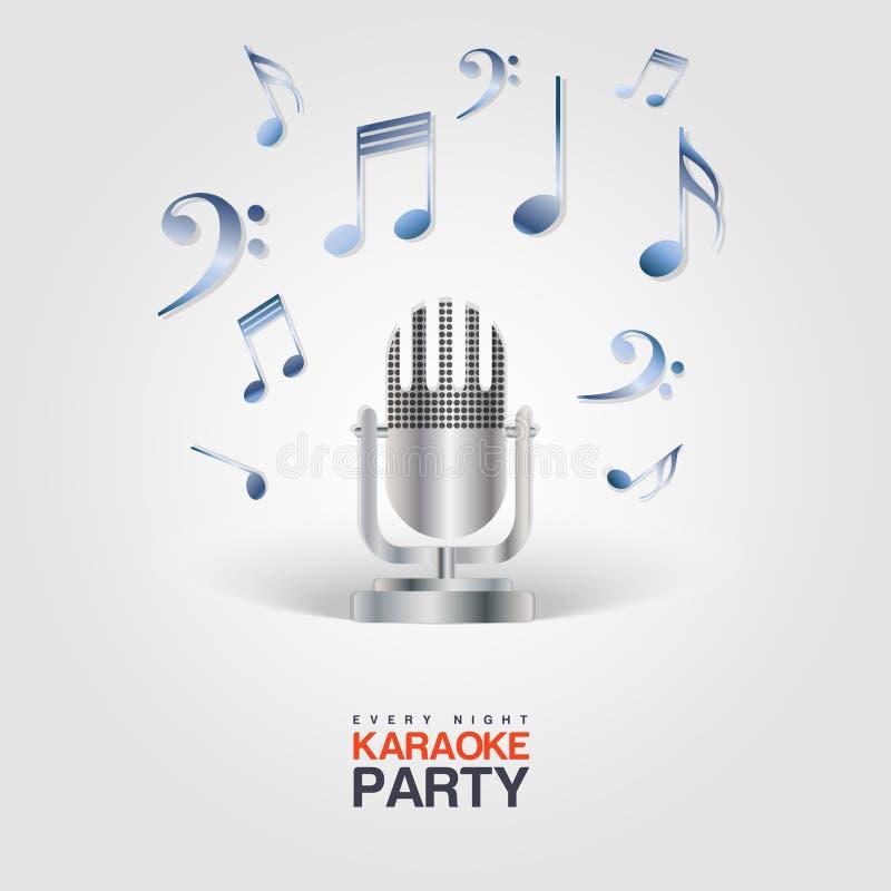 Manifesto del partito di karaoke con il microfono e le note musicali illustrazione di stock