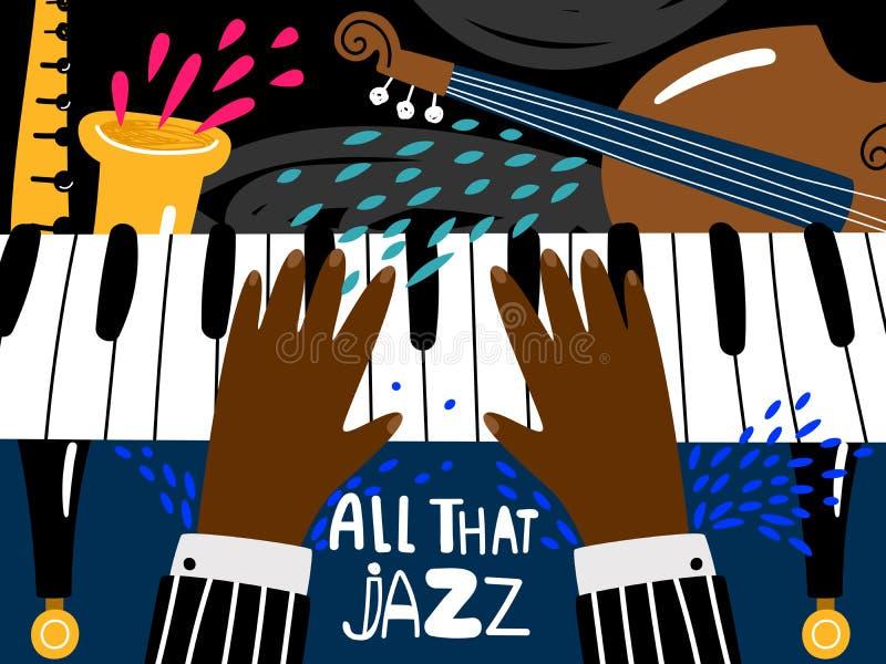 Manifesto del piano di jazz Blu e festival di arte musicale di ritmo di jazz, modello d'annata del manifesto di concerto della ba illustrazione vettoriale