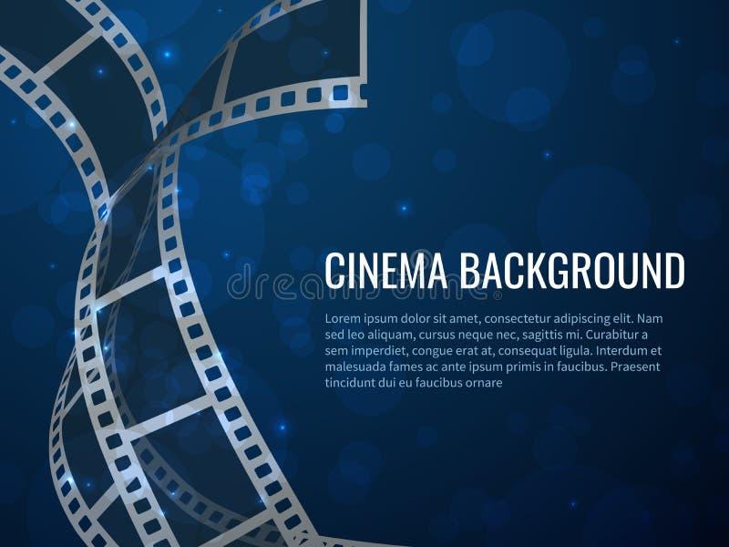 Manifesto del rotolo della striscia di pellicola Produzione di film con le strutture ed il testo di pellicola negativa in bianco  illustrazione vettoriale