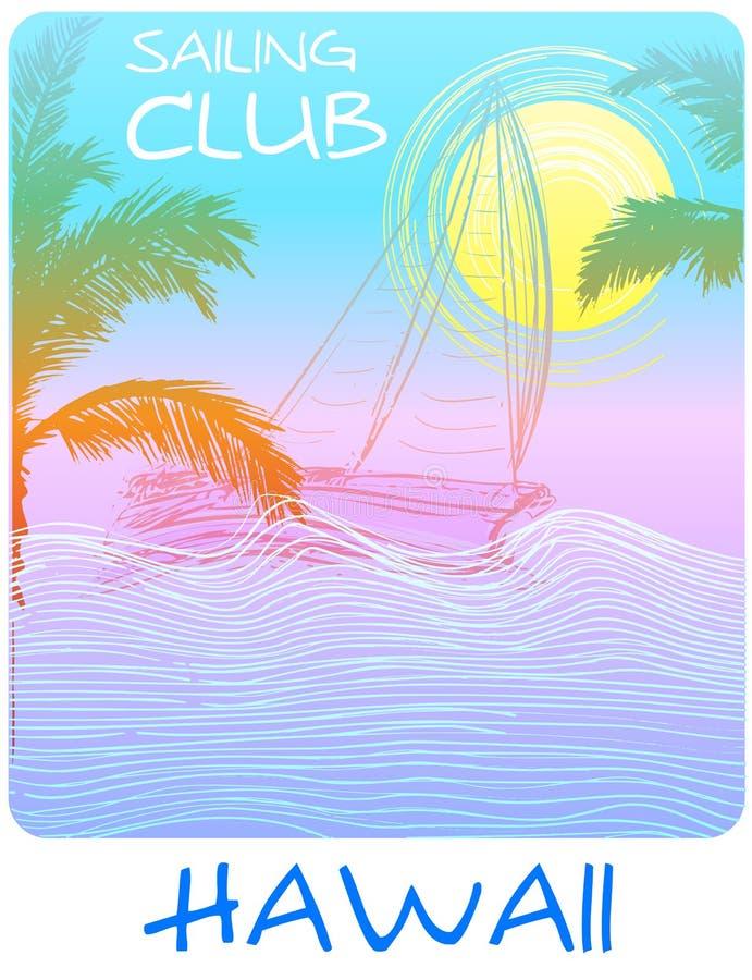 Manifesto del T del club di navigazione delle Hawai illustrazione vettoriale