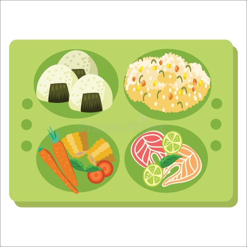Manifesto del vassoio del pranzo, vassoio verde con l'antipasto di contorno ed insalata illustrazione vettoriale