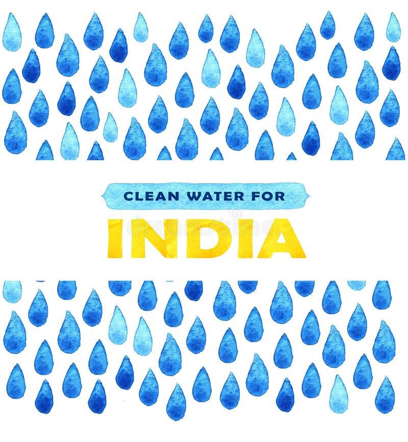 Manifesto dell'acqua pulita di carità Illustrazione sociale circa i problemi India Dare le donazioni per i bambini e la gente ind illustrazione di stock