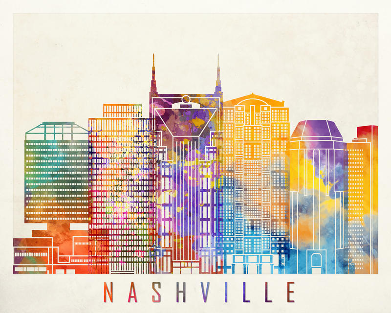 Manifesto dell'acquerello dei punti di riferimento di Nashville royalty illustrazione gratis