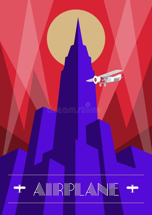 Manifesto dell'aeroplano e del grattacielo nello stile di art deco Illustrazione d'annata di viaggio illustrazione vettoriale