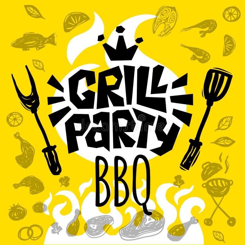Manifesto dell'alimento del BBQ del partito della griglia L'alimento arrostito, verdure del pesce della carne griglia la spezia d illustrazione vettoriale