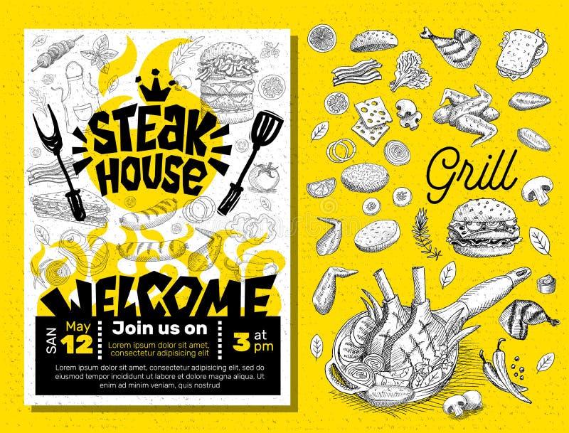 Manifesto dell'alimento del BBQ del partito di tempo della griglia L'alimento arrostito, verdure del pesce della carne griglia la illustrazione vettoriale