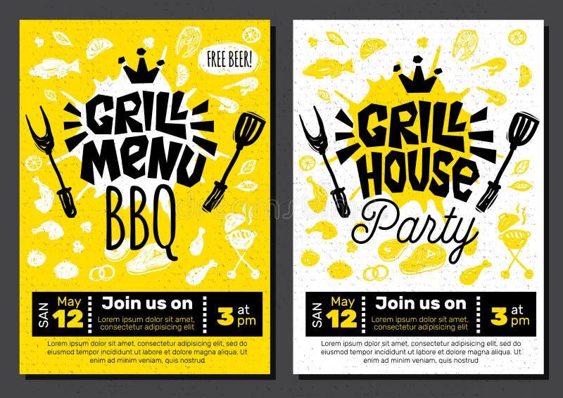 Manifesto dell'alimento del BBQ del partito di tempo della griglia L'alimento arrostito, verdure del pesce della carne griglia la royalty illustrazione gratis