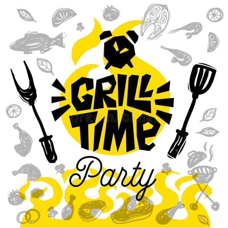 Manifesto dell'alimento di tempo della griglia L'alimento arrostito, verdure del pesce della carne griglia la spezia del limone d royalty illustrazione gratis