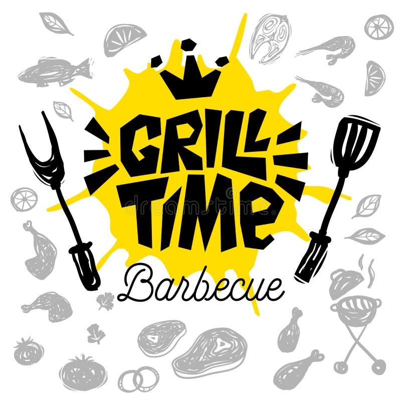 Manifesto dell'alimento di tempo della griglia L'alimento arrostito, verdure del pesce della carne griglia la spezia del limone d illustrazione di stock