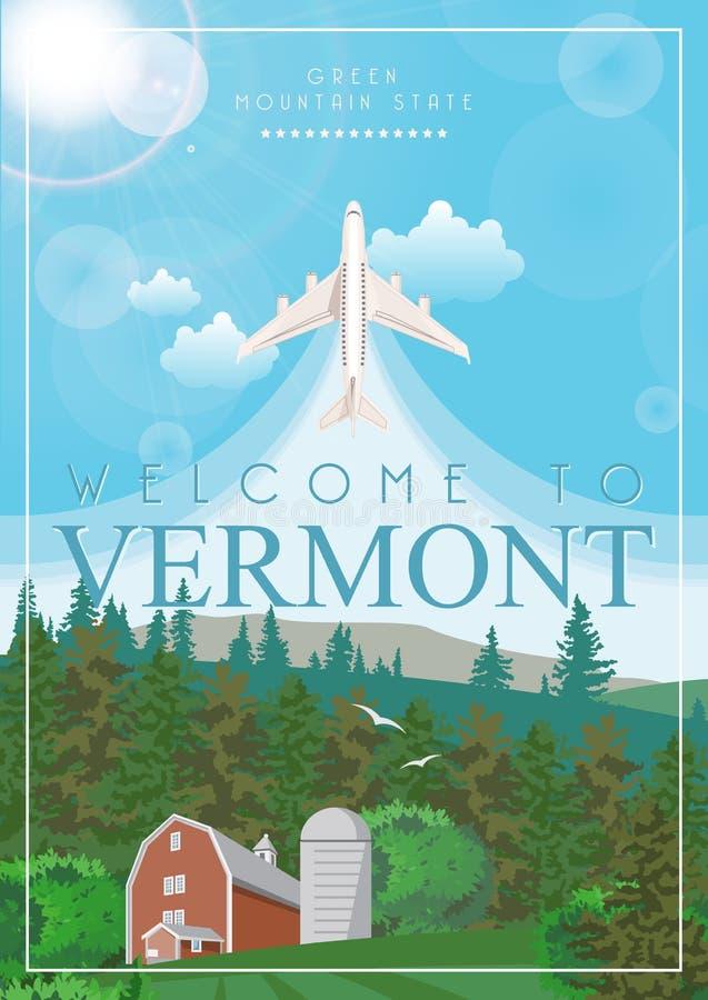 Manifesto dell'americano di vettore del Vermont Illustrazione di viaggio di U.S.A. Carta degli Stati Uniti d'America illustrazione di stock