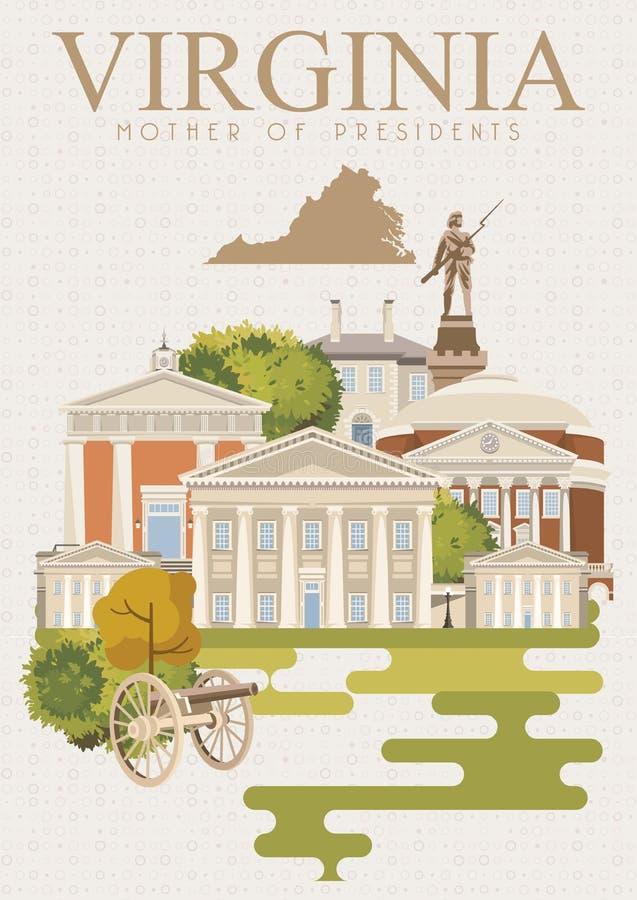 Manifesto dell'americano di vettore della Virginia Stile dell'annata royalty illustrazione gratis