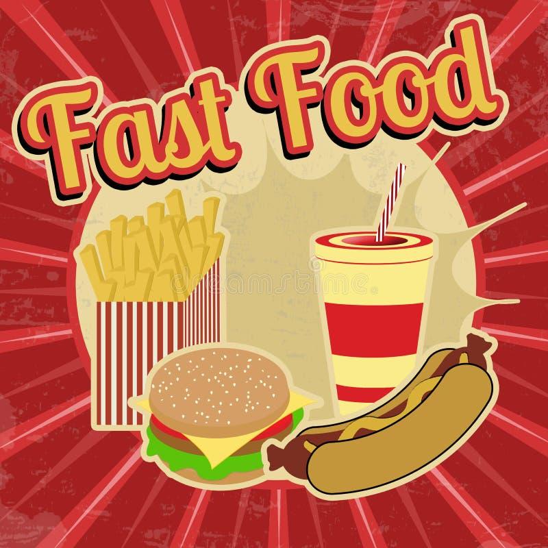 Manifesto dell'annata degli alimenti a rapida preparazione illustrazione vettoriale