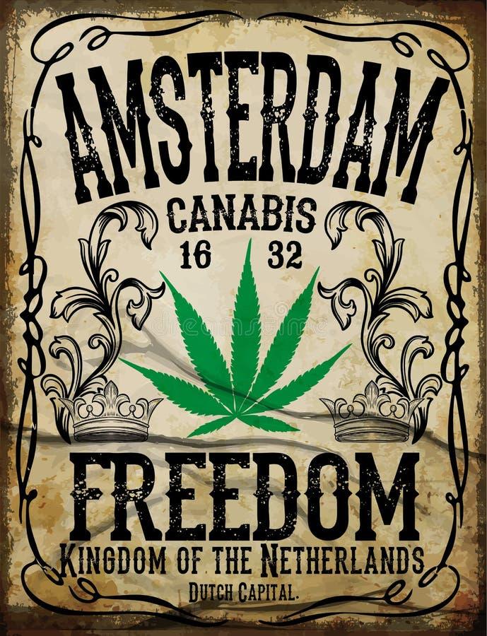 Manifesto dell'annata di Amsterdam illustrazione di stock