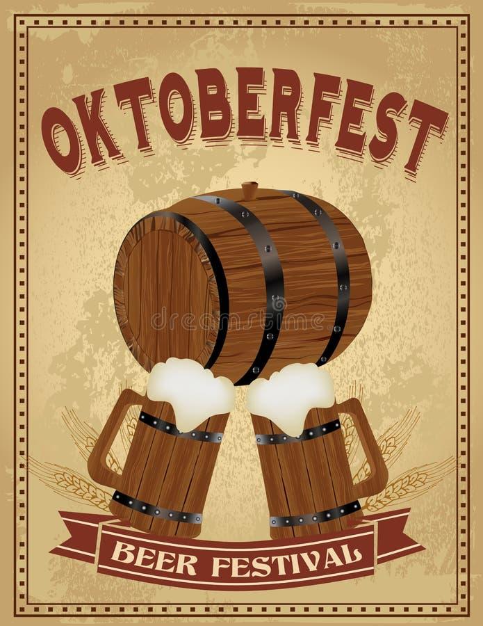 Manifesto dell'annata di festival della birra di Oktoberfest royalty illustrazione gratis