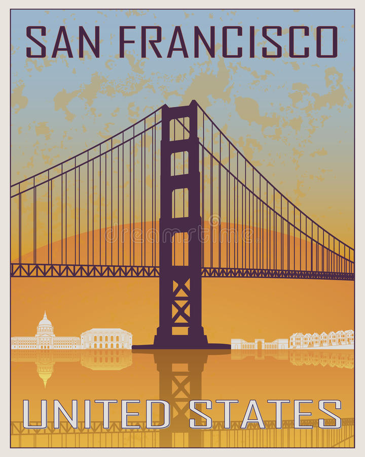 Manifesto dell'annata di San Francisco royalty illustrazione gratis