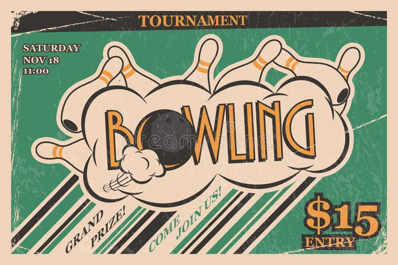 Manifesto dell'annata dell'invito di torneo di bowling Colpo lanciante nel retro concetto di progetto del manifesto di torneo di  illustrazione vettoriale