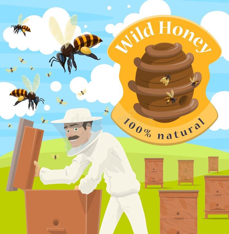 Manifesto dell'azienda agricola del miele con l'apicoltore maschio all'arnia illustrazione vettoriale