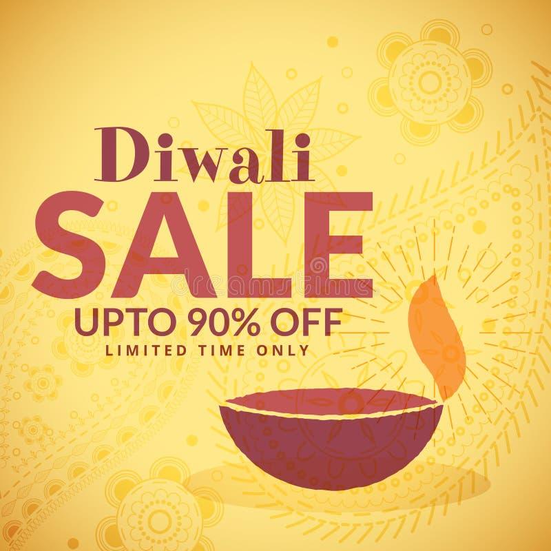 Manifesto dell'insegna di vendita di Diwali con il diya illustrazione di stock