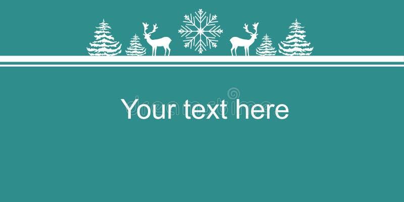 Manifesto dell'insegna di web dei nuovi anni di Natale Fiocco della neve degli abeti dei cervi delle siluette di bianco Spazio de illustrazione di stock