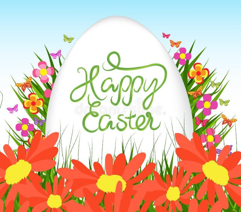 Manifesto dell'uovo di Pasqua Fondo con i girasoli, erba verde royalty illustrazione gratis