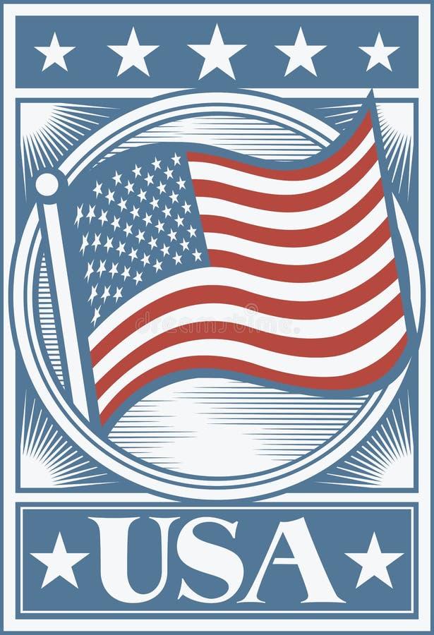 Manifesto della bandiera americana royalty illustrazione gratis