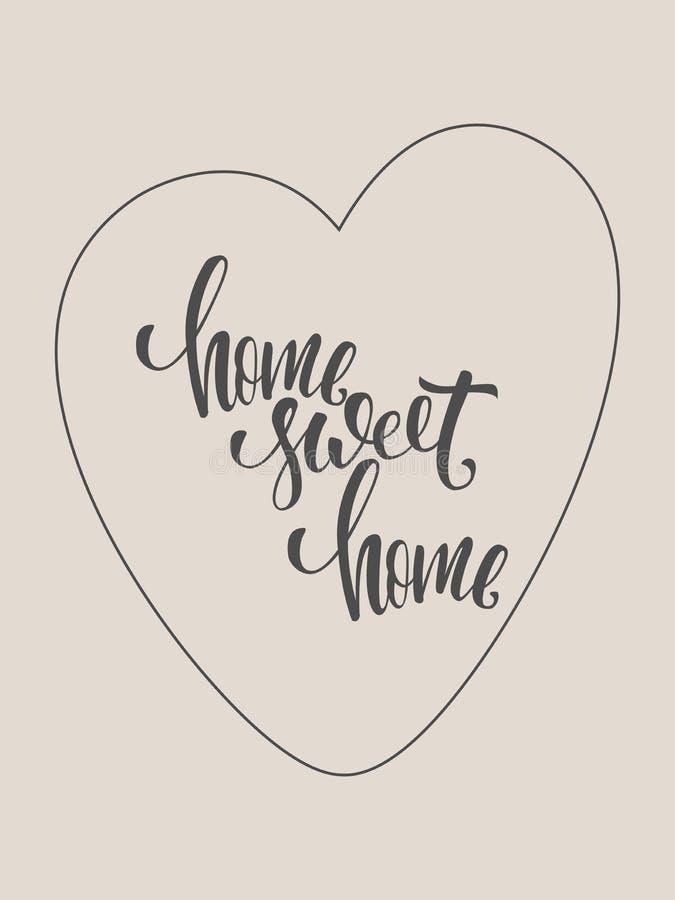 Manifesto della casa dolce casa Moderno brushpen la calligrafia immagine stock