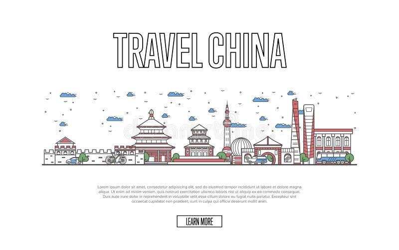 Manifesto della Cina di viaggio nello stile lineare royalty illustrazione gratis