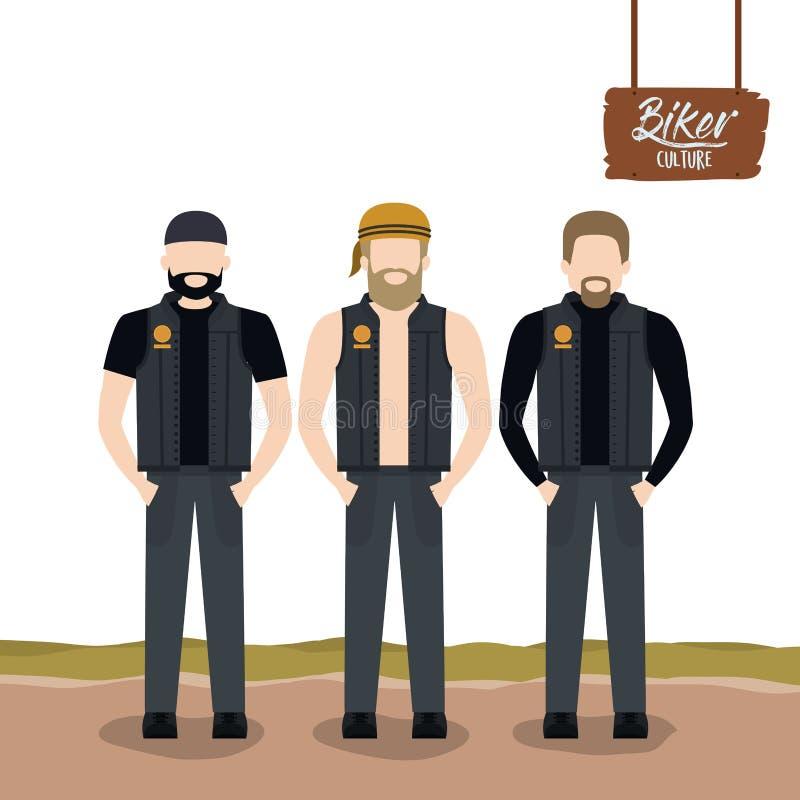 Manifesto della cultura del motociclista con i motociclisti diritti degli uomini con le barbe ed i bomber royalty illustrazione gratis