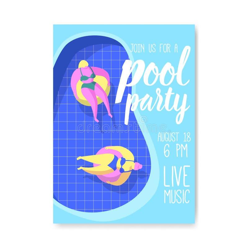 Manifesto della festa in piscina, insegna, invito Opuscolo di estate con i galleggianti in acqua Partito della spiaggia del model illustrazione vettoriale