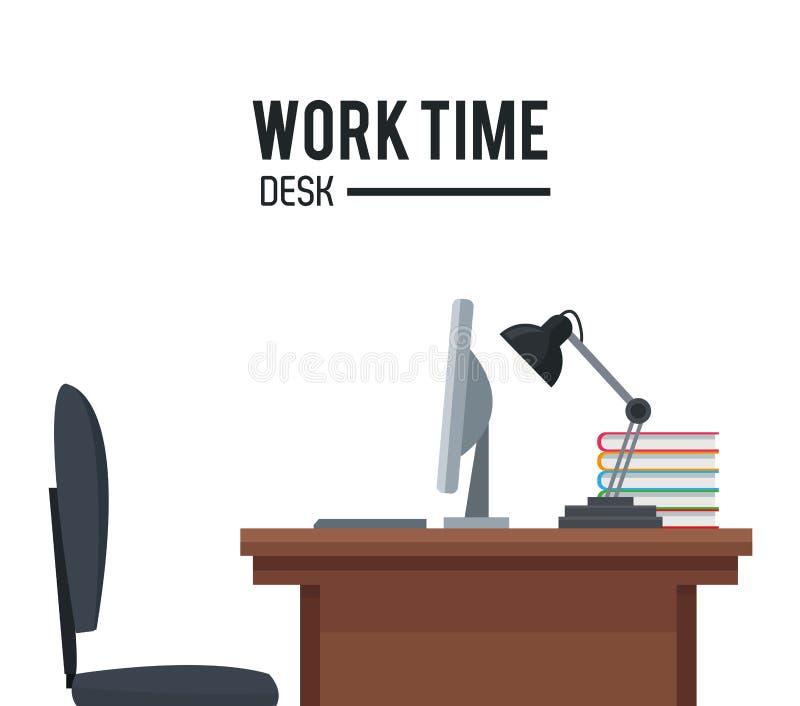 Manifesto della lampada del computer portatile della sedia di scrittorio di tempo di lavoro royalty illustrazione gratis