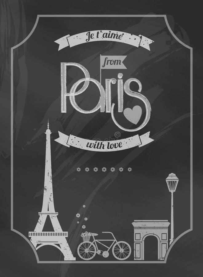 Manifesto della lavagna di Parigi di amore retro illustrazione di stock