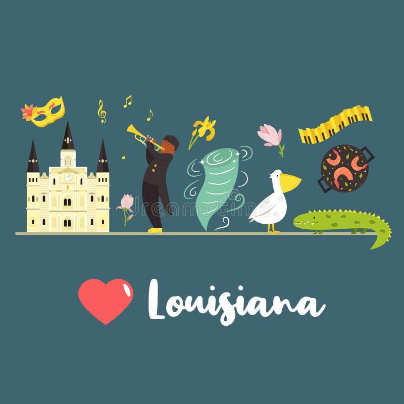 Manifesto della Luisiana con i simboli e gli elementi royalty illustrazione gratis